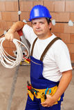 Electrician in a new building Royalty Free Stock Image