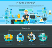 Electrician One Page Design. With advertising symbols flat  illustration Royalty Free Stock Photography