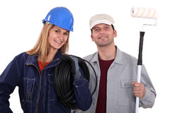 Electrician and a painter Stock Photos