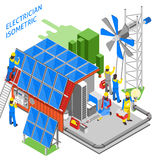 Electrician People Isometric Composition. Colored 3d electrician people isometric composition people are doing their job installation of solar panels vector stock illustration