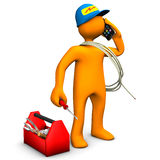 Electrician Phones. Orange cartoon character as electrician phones with smartphone. White background Stock Photo