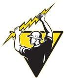 Electrician power lineman holding lighting bolt Stock Photos