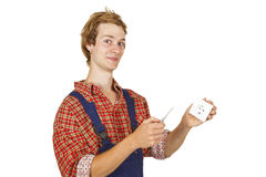 Electrician with power socket. And circuit tester - isolated Stock Images