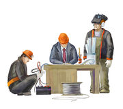 Electrician, project manager, architect. Builders working on construction works illustration Stock Photos
