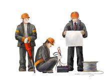 Electrician, project manager, jack hammer wBuilders working on construction works illustration. Deputy director, welder, electrician, project manager, architect Royalty Free Stock Photos