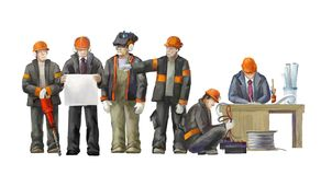 Electrician, project manager, jack hammer wBuilders working on construction works illustration. Deputy director, welder, electrician, project manager, architect Stock Photography