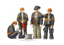 Electrician, project manager, jack hammer worker. Builders working on construction works illustration. Deputy director, welder, electrician, project manager Royalty Free Stock Photo