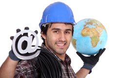 An electrician promoting the internet Stock Photo