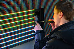 Electrician repair LED screen stock photo
