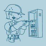 Electrician repairing an electrical panel Stock Photo