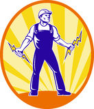 Electrician Repairman Holding Lightning Bolt Stock Photography