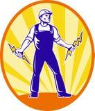 Electrician Repairman Holding Lightning Bolt stock illustration