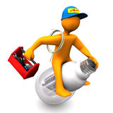 Electrician Rides. Orange cartoon character as electrician, rides on the LED-Lamp. White background Royalty Free Stock Photo