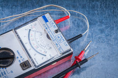 Electrician's control panel on scratched metallic surface constr Royalty Free Stock Photos