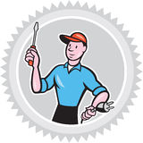 Electrician Screwdriver Plug Rosette Cartoon Stock Photography