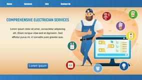 Electrician Service. Thumb Up Workman Character. Happy Handyman Wearing Overall Uniform and Cap. Repairman Male Character Standing, Leaning on Screen. Flat royalty free illustration
