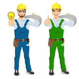 Electrician showing thumbs up. Illustration of technical, electrician or mechanic showing thumbs up isolated over white background Royalty Free Stock Photography