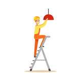 Electrician standing on a stepladder installing lighting on the ceiling, electric man performing electrical works vector Royalty Free Stock Photo