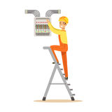 Electrician standing on a stepladder and screwing equipment in fuse box, electric man performing electrical works vector Royalty Free Stock Image