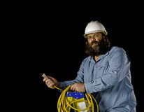 Electrician on a step ladder Royalty Free Stock Image