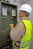 Electrician in switching power Royalty Free Stock Photos