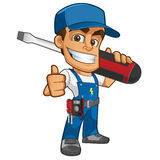 Electrician. Sympathetic electrician, he will dress in work clothes and carrying different tools vector illustration