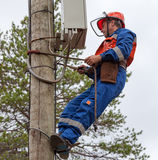 Electrician to carry out maintenance of instrumentation and cont Stock Photos