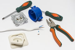 Electrician tool box for installation of sockets and socket dismantled. Stock Image