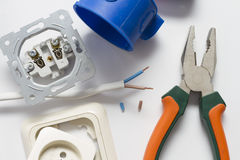 Electrician tool box for installation of sockets and socket dismantled. Royalty Free Stock Photos