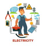 Electrician with toolkit surrounded with electricity sources and tools. Royalty Free Stock Images