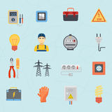 Electrician tools instruments flat icons set Royalty Free Stock Photo