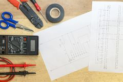 Electrician tools , instruments and project design royalty free stock photo