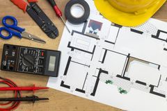 Electrician tools , instruments and project design stock photography