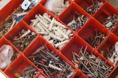 Electrician tradesman's Box of screws Royalty Free Stock Photo