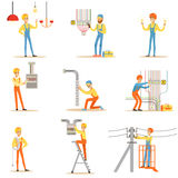 Electrician In Uniform And Hard Hat Working With Electric Cables And Wires Stock Images