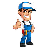 Electrician. Vector illustration of an electrician, he wears work clothes stock illustration