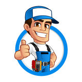 Electrician. Vector illustration of an electrician, he wears work clothes Royalty Free Stock Photos