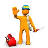 Electrician Waves. Orange cartoon character as electrician with toolbox and cable. White background Royalty Free Stock Images