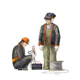 Electrician and welder. Builders working on construction works illustration. Deputy director, welder, electrician, project manager, architect, jack hammer worker Royalty Free Stock Photo