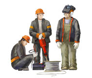 Electrician, welder, jack hammer worker. Builders working on construction works illustration Royalty Free Stock Photos