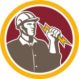 Electrician Wielding Lightning Bolt Circle Retro Royalty Free Stock Photography
