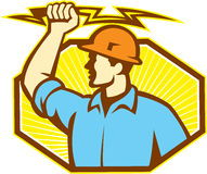Electrician Wielding Lightning Bolt Royalty Free Stock Photography