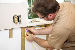Electrician Wiring Home Royalty Free Stock Photography