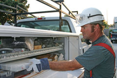 Free Electrician With Service Truck 1 Royalty Free Stock Image - 123986