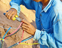 Electrician worked unsafe royalty free stock image