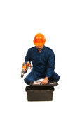 Electrician worker with box Royalty Free Stock Photos