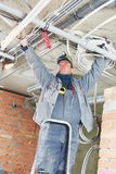Electrician worker stock image