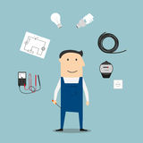 Electrician worker mwith devices and tools Stock Photo