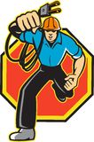 Electrician Worker Running Electrical Plug royalty free illustration