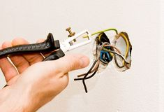 An electrician working royalty free stock images